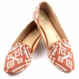 G.C 8.5 Orange/Tan Tribal Print Flats Slipons
